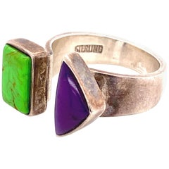 Green Turquoise and Sugilite Designer Sterling Silver Split Top Ring Estate Find