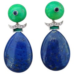 Green Turquoise Blue Sapphires Lapislazuli Green Enamels Diamonds Gold Earrings