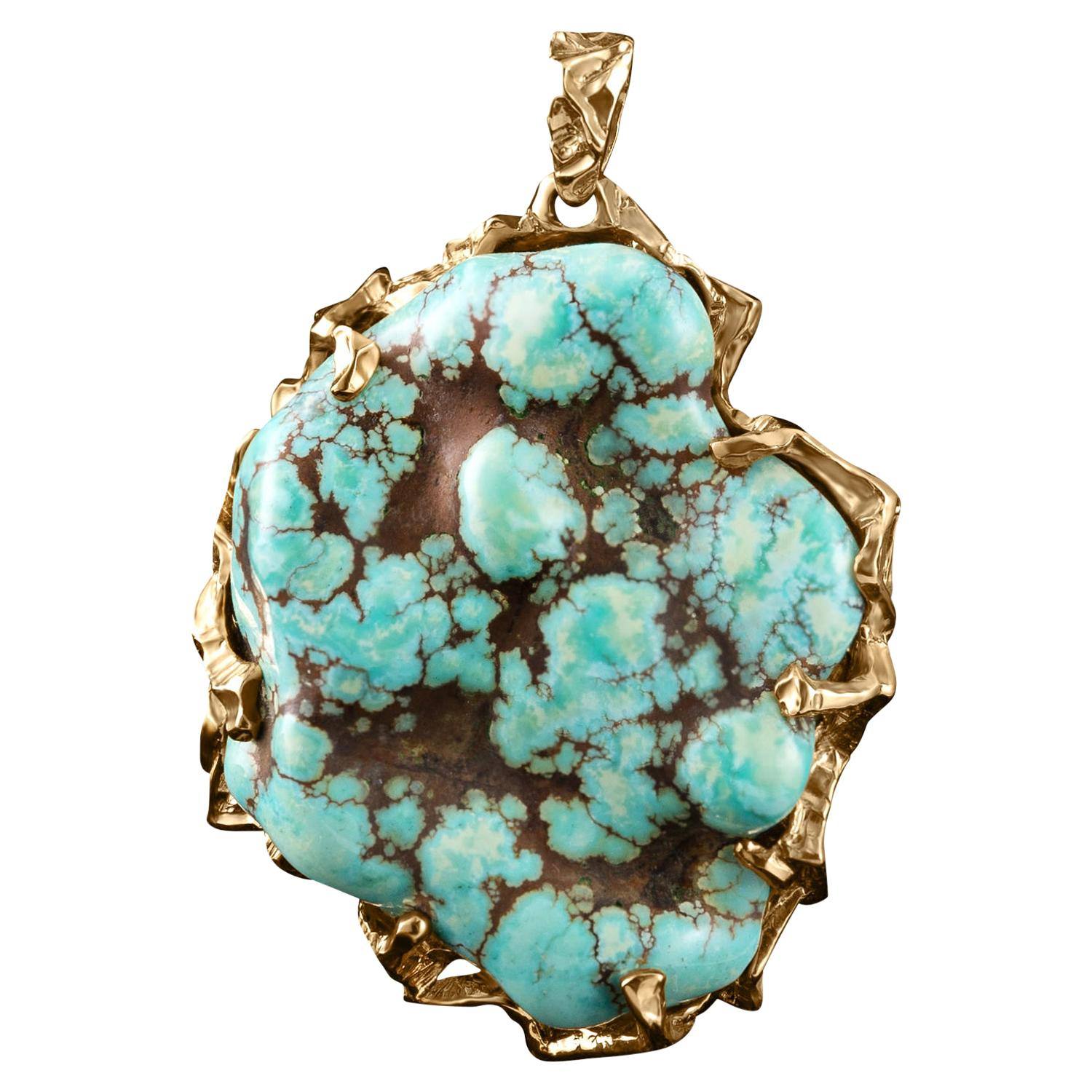 Green Turquoise Gold Pendant Big Necklace Turquoise Gemstone Christmas Gift Mens