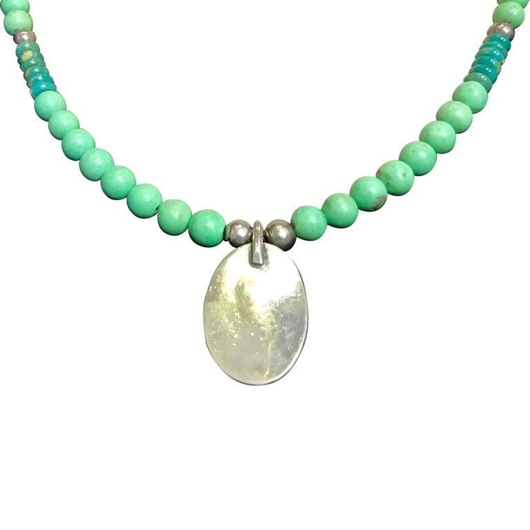 Modern Exolette Green Turquoise Pendant Set in Silver on Turquoise Jade Silver Necklace For Sale