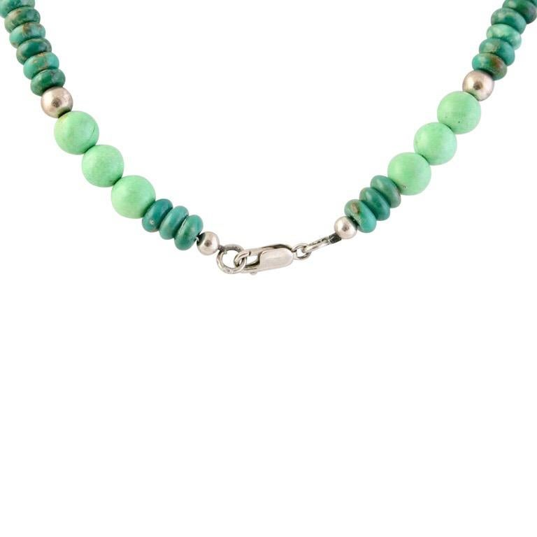 Exolette Green Turquoise Pendant Set in Silver on Turquoise Jade Silver Necklace In New Condition For Sale In Pahrump, NV