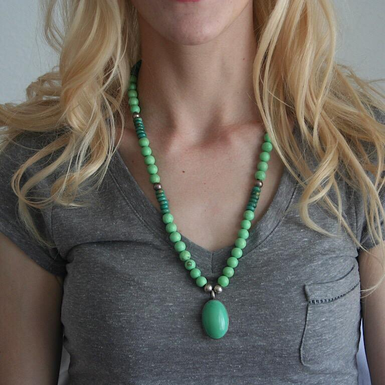 Women's or Men's Exolette Green Turquoise Pendant Set in Silver on Turquoise Jade Silver Necklace For Sale