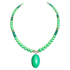 Exolette Green Turquoise Pendant Set in Silver on Turquoise Jade Silver Necklace