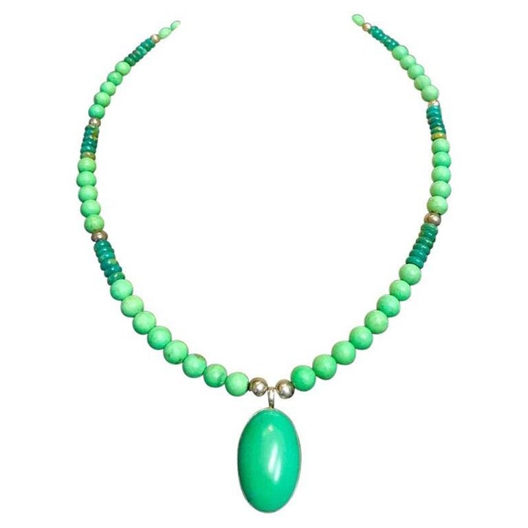 Exolette Green Turquoise Pendant Set in Silver on Turquoise Jade Silver Necklace For Sale
