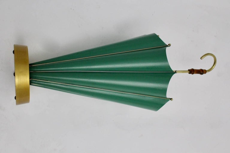 Italian Green Mid Century Modern Vintage Umbrella Stand, 1950s, Italy For Sale