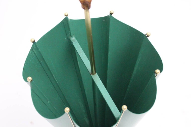 Green Mid Century Modern Vintage Umbrella Stand, 1950s, Italy In Good Condition For Sale In Vienna, AT
