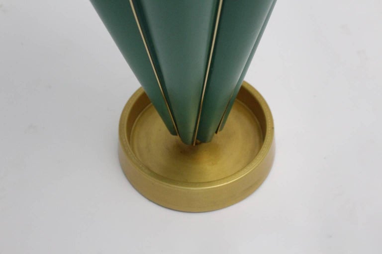 Metal Green Mid Century Modern Vintage Umbrella Stand, 1950s, Italy For Sale