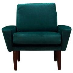 Green Velour Armchair Retro 1970s Scandinavian Design
