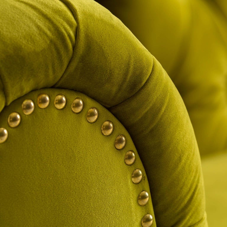 European Green Velvet and Black Wooden Feet Chesterfield Sofa For Sale