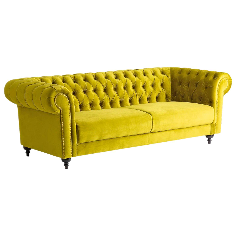 Green Velvet and Black Wooden Feet Chesterfield Sofa