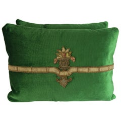Green Velvet Applique Pillows, Pair