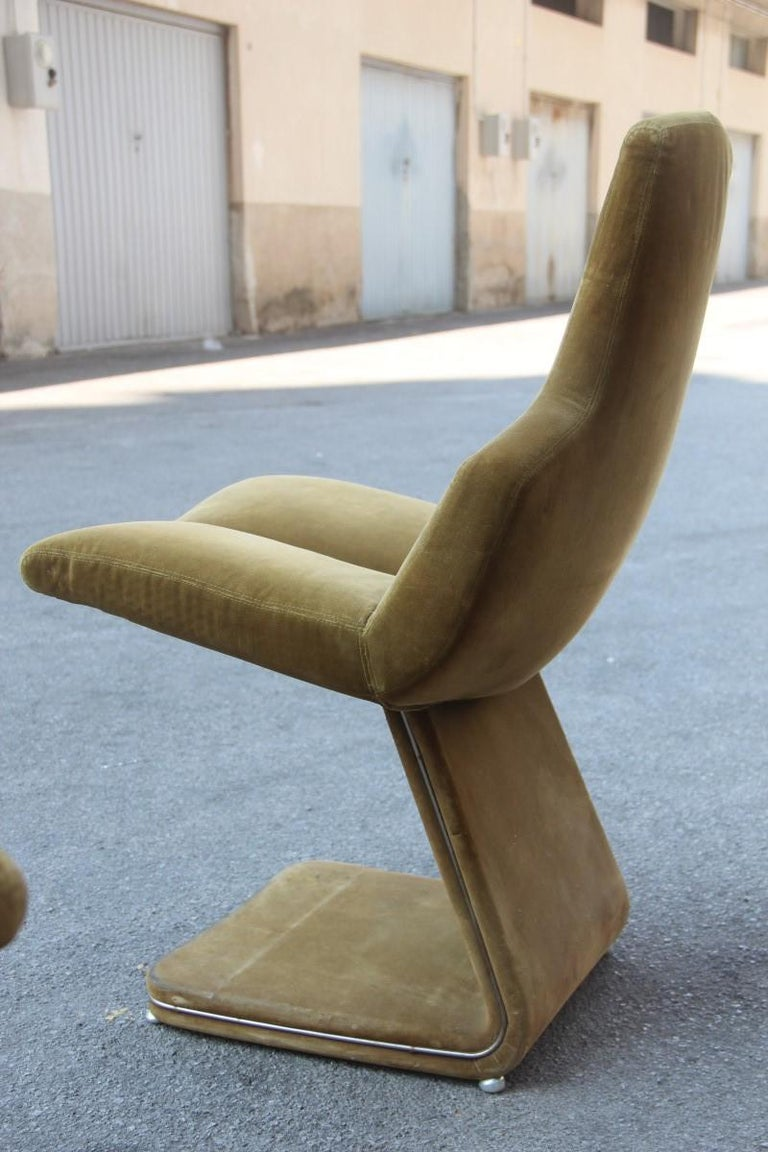 Green Velvet Chairs French Design 1970s Verner Panton Style For Sale 6