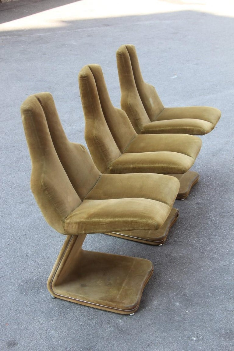 Green Velvet Chairs French Design 1970s Verner Panton Style For Sale 8