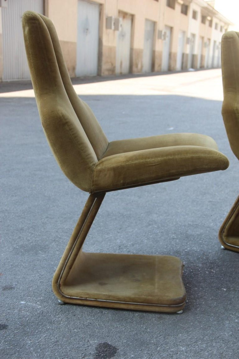 Green Velvet Chairs French Design 1970s Verner Panton Style In Good Condition For Sale In Palermo, Sicily