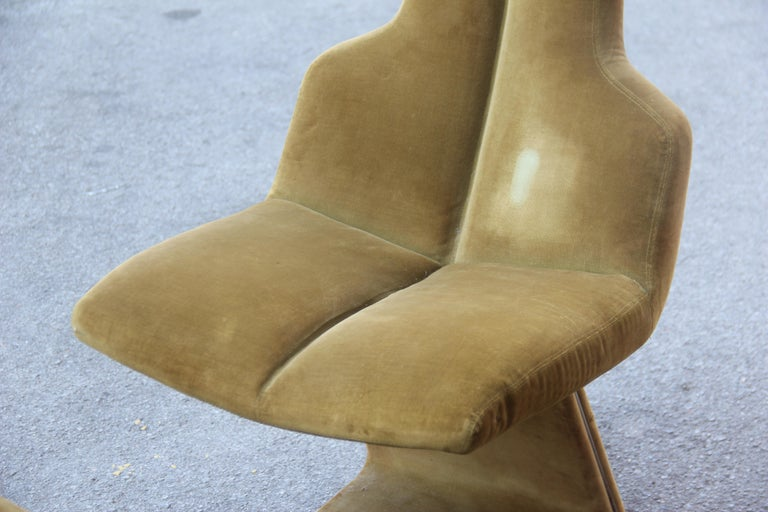 Green Velvet Chairs French Design 1970s Verner Panton Style For Sale 5