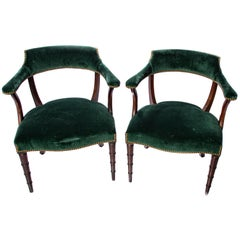 Green Velvet Chippendale Chairs