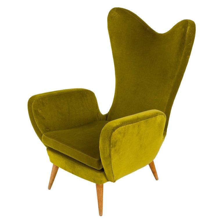 Green Velvet Mid-Century Lounge Chair, Italy, 1950s For Sale