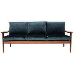 Green Velvet Three-Seat Sofa by Sven Ellekaer for Komfort, Denmark, 1960s