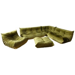 Green Velvet Togo Sofa Set by Michel Ducaroy for Ligne Roset, Set of 5