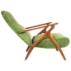 Green Velvet and Wood 1950s Reclining Armchair Attributed to Antonino Gorgone