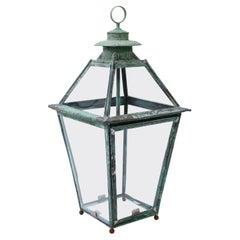 Green Verdigris Copper and Brass French Lantern