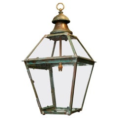 Green-Verdigris Copper and Brass Lantern