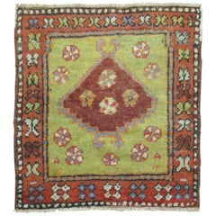 Green Vintage Anatolian Turkish Square Rug