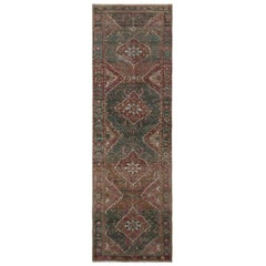 Green Vintage and Worn Down Persian Heriz Hand Knotted Runner Pure Wool Oriental