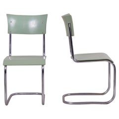 Green Vintage Bauhaus Pair of Chairs Manufactured by Robert Slezák, 1930-1939