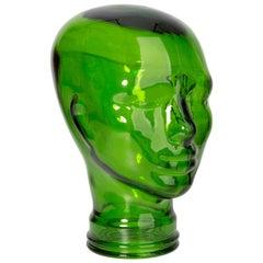 Green Vintage Decorative Mannequin Glass Head Sculpture, 1970s, Germany