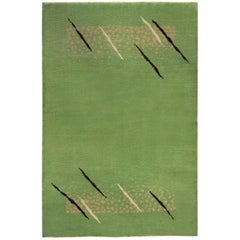 Green Vintage French Deco Rug