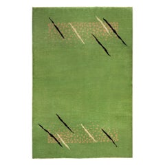 French Art Deco Mid Century Green Handwoven Wool Rug