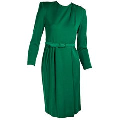 Green Vintage Givenchy Wool Belted Dress