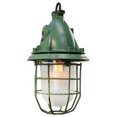 Green Vintage Industrial Aluminum Clear Striped Glass Pendant Light