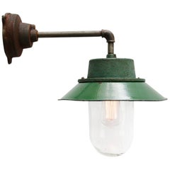 Green Vintage Industrial Enamel Clear Glass Scones Wall Light