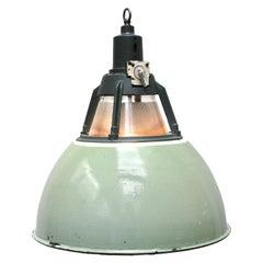 Green Vintage Industrial Holophane Glass Pendant Lights (2x)