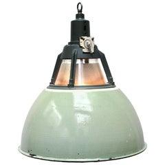 Green Vintage Industrial Holophane Glass Pendant Lights