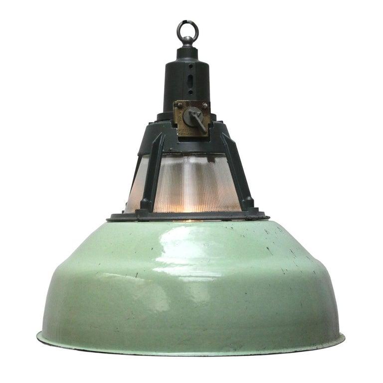 Green Vintage Industrial Holophane Glass Pendants Lights (26x)