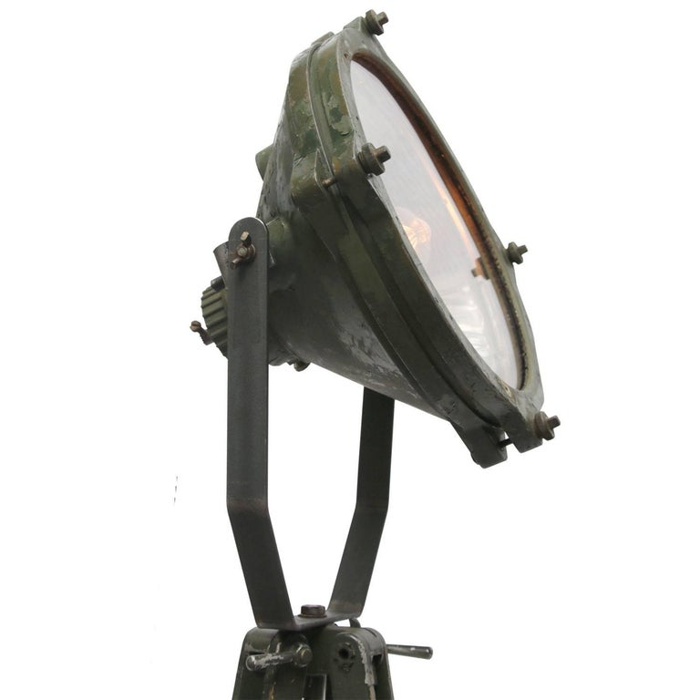 Cast Green Vintage Industrial Metal Mirror Wooden Tripod Floor Lamps For Sale