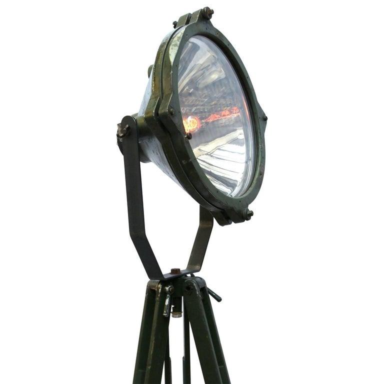20th Century Green Vintage Industrial Metal Mirror Wooden Tripod Floor Lamps For Sale