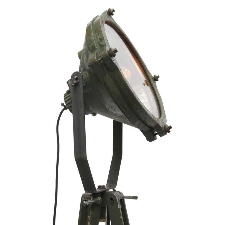 Green Vintage Industrial Metal Mirror Wooden Tripod Floor Lamps For Sale 1