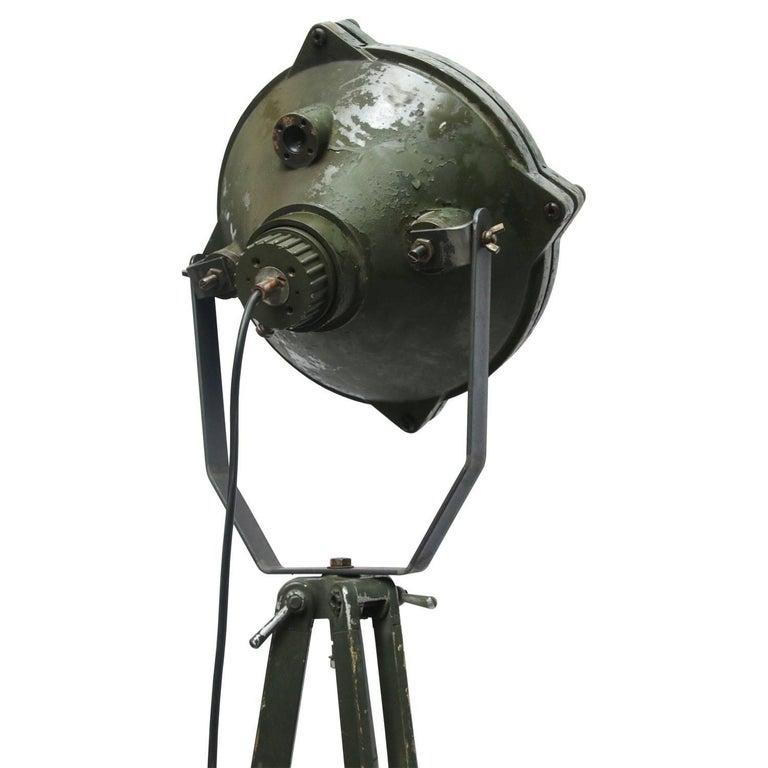 Green Vintage Industrial Metal Mirror Wooden Tripod Floor Lamps For Sale 2
