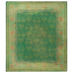 Green Vintage Irish Donegal Rug