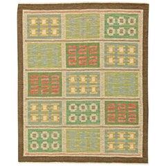 Green Vintage Swedish Flat-Weave Rug by Svensk Hemslojd