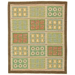 Green Vintage Swedish Flat-Weave Rug by Svensk Hemslojd