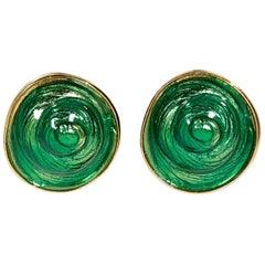 Green Vintage Yves Saint Laurent Rive Gauche Earrings