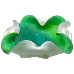 Green Vortex, Murano Shell Bowl with Four Lobes in the Style of Seguso