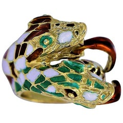 Green White and Red Harlequin Pattern Enameled Double Headed Snake Ring