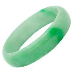 Green White Mottled Natural Jadeite Jade Bangle Bracelet