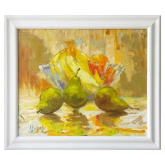 "Green, Yellow, Blue, Orange and Red Still Life Oil Painting, Entitled ""Pears"""